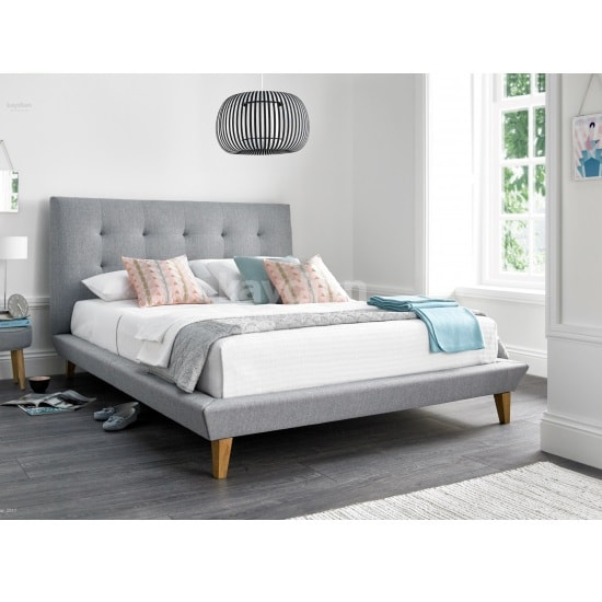 Stratus Fabric Double Bed In Light Grey With Wooden Legs