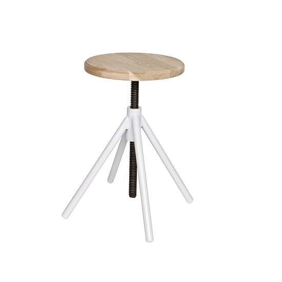 Enjoyable Stratus Round Stool In Wooden Top With White Metal Creativecarmelina Interior Chair Design Creativecarmelinacom