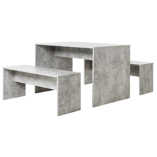 Stratus Dining Table In Structural Concrete And 2 Dining Benches