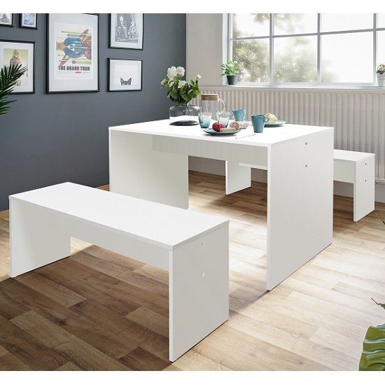 Stratus Wooden Dining Table In White With 2 Dining Benches