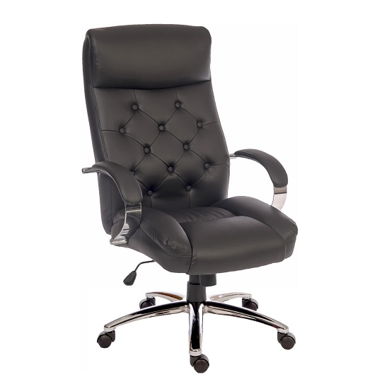 Straub Executive Office Chair In Black Faux Leather