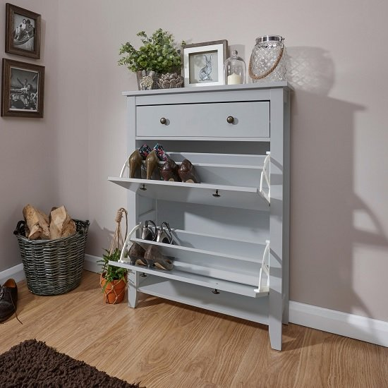 Strado Wooden Shoe Cabinet In Grey With 2 Doors And 1 Drawer_2