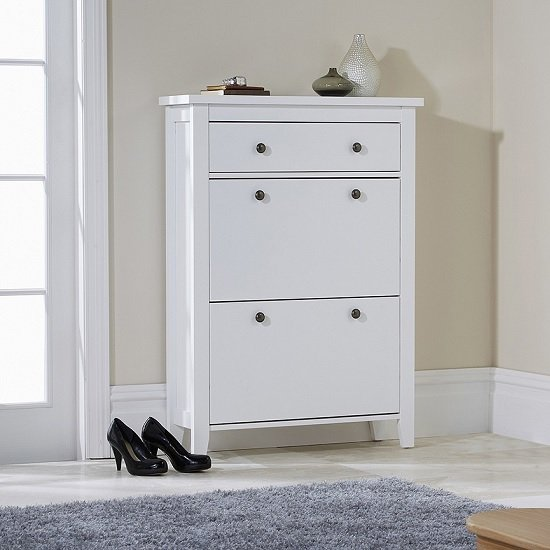 Strado Wooden Shoe Cabinet In White With 2 Doors And 1 Drawer