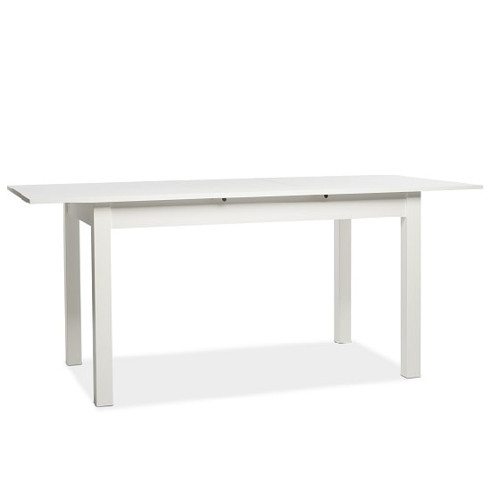 Stripe 140x180cm Wooden Extendable Dining Table In White