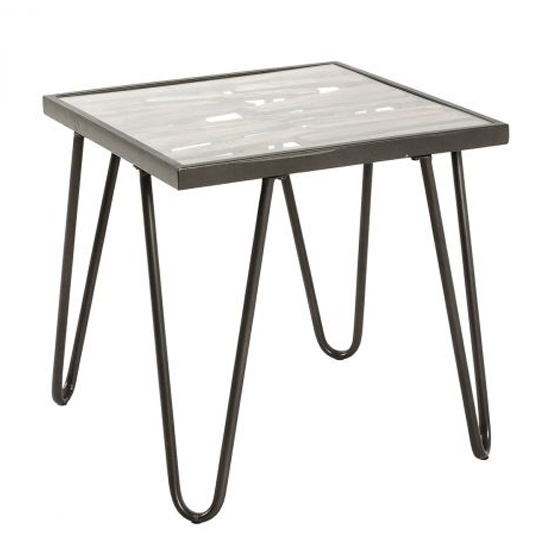 Stripe Metal Square Side Table In Grey