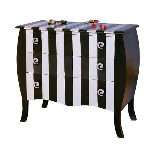 Baroque Style Chest Of Drawers Stripe Design