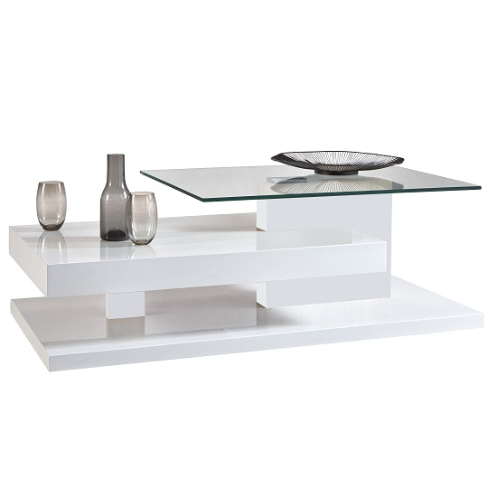 Verona Extendable High Gloss Coffee Table In White: Stroma Coffee Table In White High Gloss With Glass Top