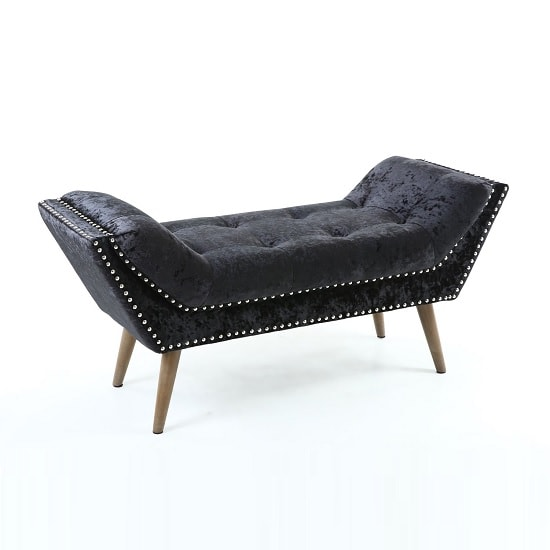 Strugard trendy medium chaise in crushed velvet black 32519 for Black velvet chaise lounge