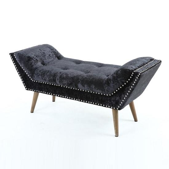 Strugard trendy medium chaise in crushed velvet black 32519 for Black velvet chaise