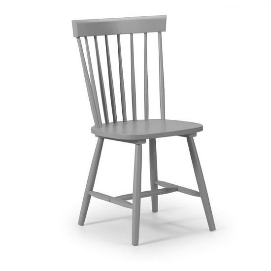 Stugard Wooden Dining Chair In Grey Lacquered Finish