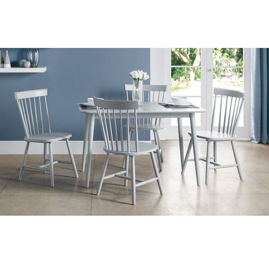 Stugard Wooden Dining Table Rectangular In Grey With 4 Chairs_1