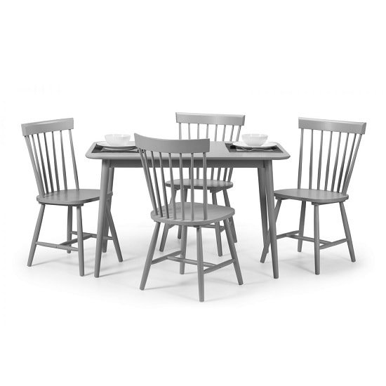 Stugard Wooden Dining Table Rectangular In Grey With 4 Chairs_2