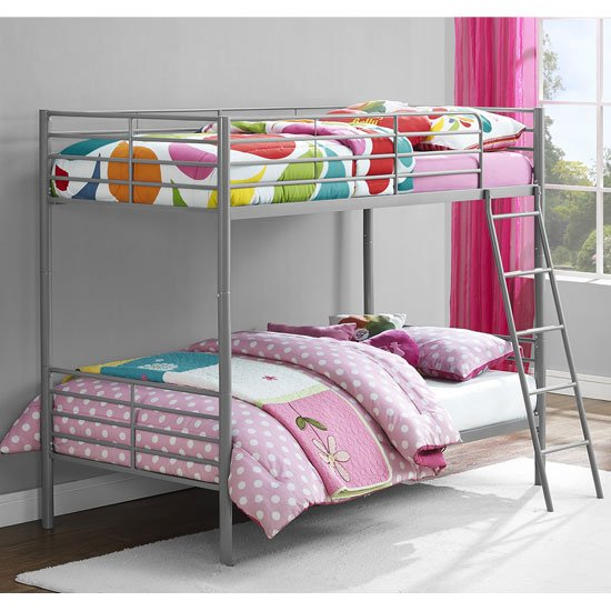 Sturdy Metal Convertible Single Over Single Bunk Bed In Grey