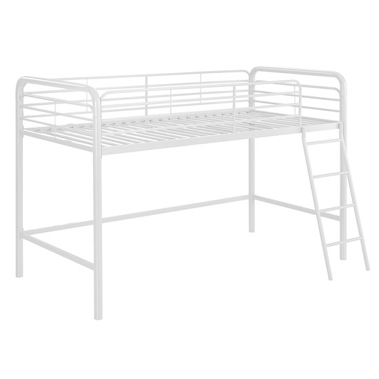 Sturdy Metal Single Midsleeper Bunk Bed In White_2