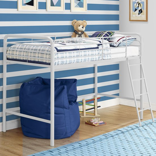 Sturdy Metal Single Midsleeper Bunk Bed In White_1