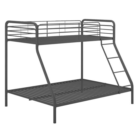 Sturdy Metal Single Over Double Bunk Bed In Black_2