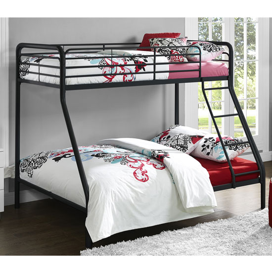Sturdy Metal Single Over Double Bunk Bed In Black_1