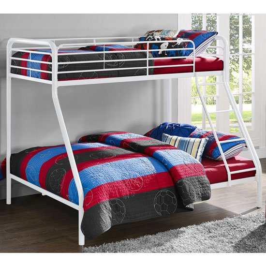 Sturdy Metal Single Over Double Bunk Bed In White