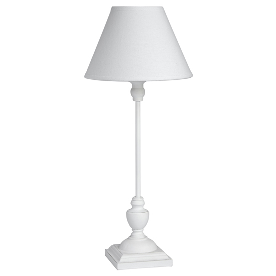 Stymie Wooden Slim Table Lamp With White Shade
