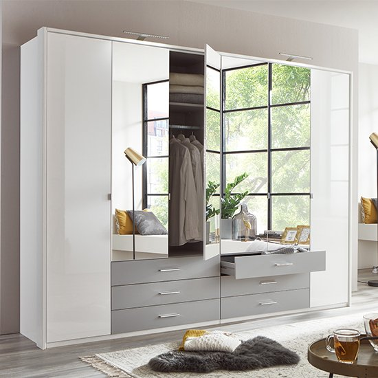 Sumatra Mirrored Wide Wardrobe In White Gloss And Light Grey