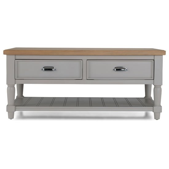 Sunburst Wooden Coffee Table In Grey And Solid Oak With 2 Drawer_2
