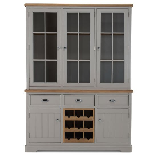 Sunburst Wooden Display Cabinet In Grey And Solid Oak_2