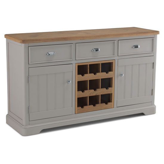 Sunburst Wooden Sideboard In Grey And Solid Oak With Wine Rack