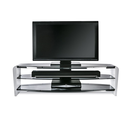 Sunbury Medium Wooden TV Stand In White With Black Glass