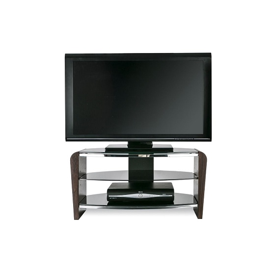 Sunbury Wooden TV Stand In Walnut With Black Glass