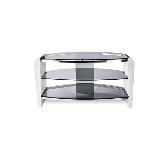Sunbury Wooden TV Stand In White Wood With Black Glass_3