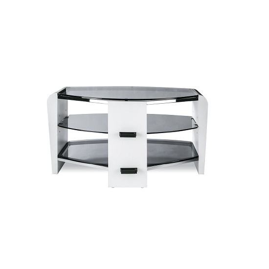 Sunbury Wooden TV Stand In White Wood With Black Glass_4