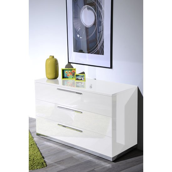 Sinatra White High Gloss Finish  Drawers Chest Of Drawers
