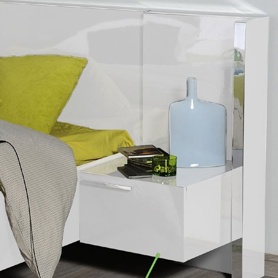 Sinatra White High Gloss Finish Left BedSide Table With Light