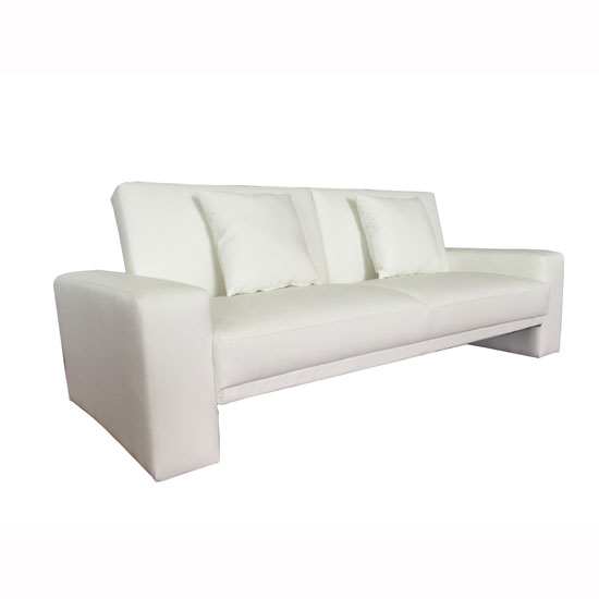 Supra Modern Sofa Bed In White Faux Leather