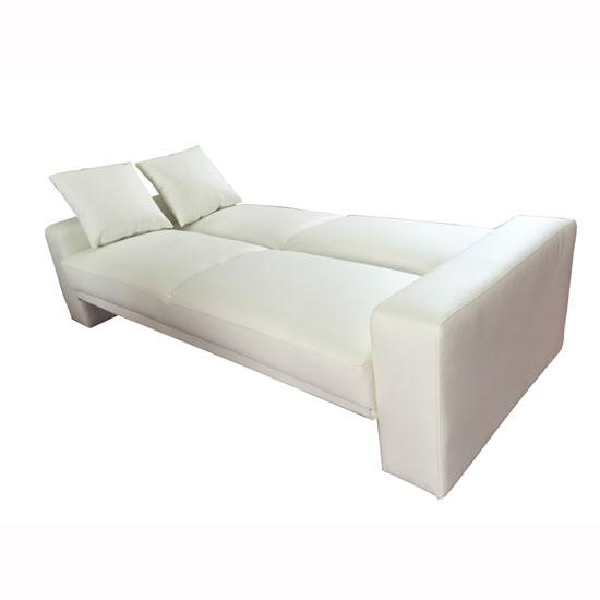 Supra Modern Sofa Bed In White Faux Leather 28400 Furniture