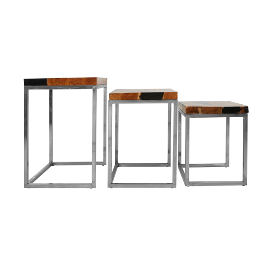 Praecipua Set Of 3 Teak Wood Nesting Tables With Metal Base