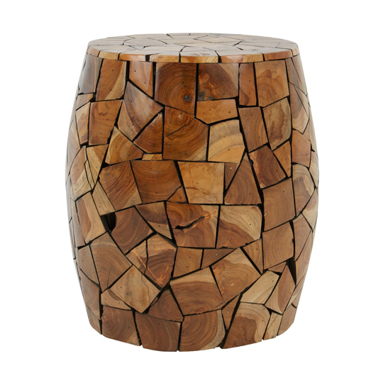 Praecipua Solid Teak Wood Stool In Brown