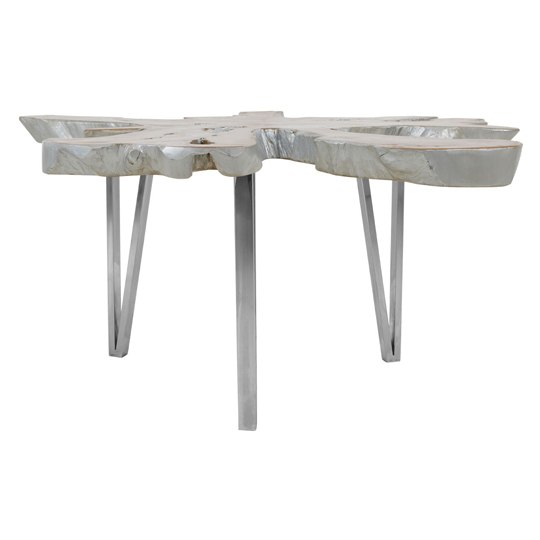 Praecipua Teak Wood Coffee Table With Star Top In Silver