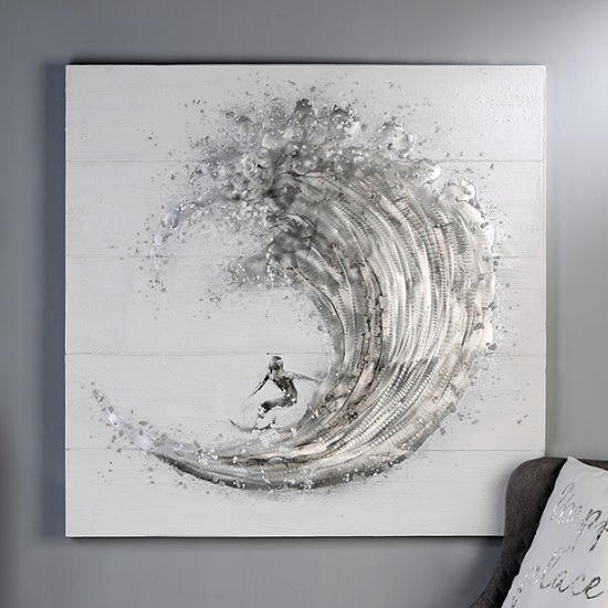 Surfer Canvas Oil Painting In Wooden Frame With Aluminium