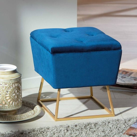 Surin Fabric Storage Ottoman Stool In Blue With Metal Legs