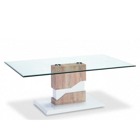 Susan Glass Coffee Table With Natural And White High Gloss Base