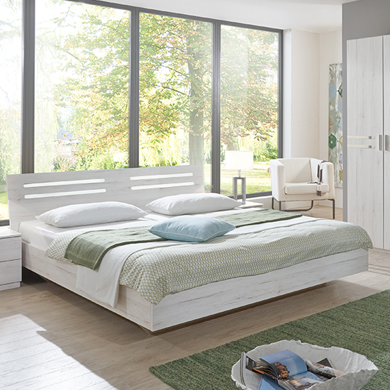 Susan Wooden Double Bed In White Oak