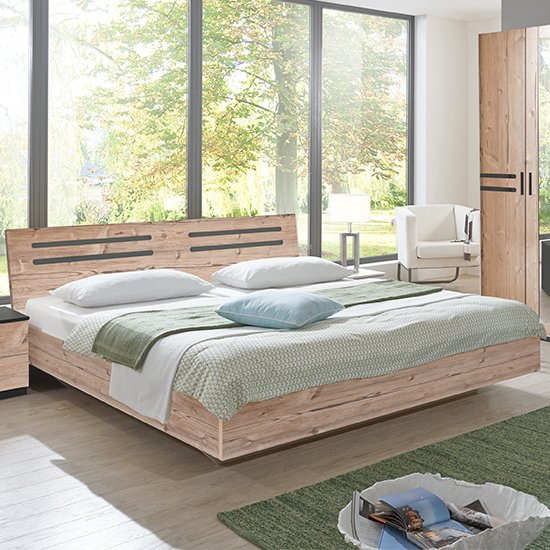 Product photograph showing Susan Wooden King Size Bed In Silver Fir