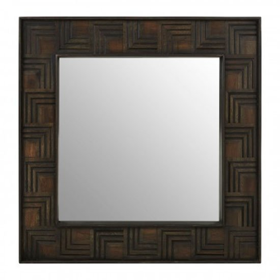 Sutra Square Wall Bedroom Mirror In Weathered Brown Frame