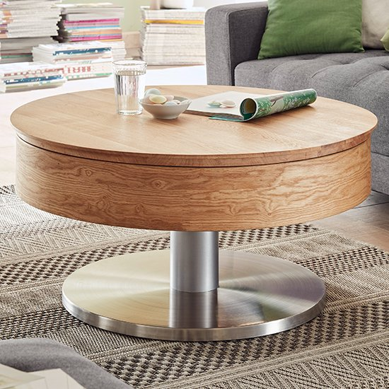 Suva Round Wooden Storage Coffee Table In Oak