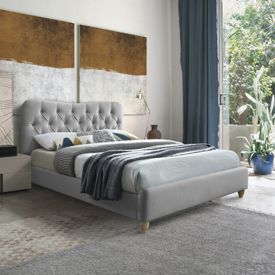 Suzum Fabric Upholstered Double Bed In Grey