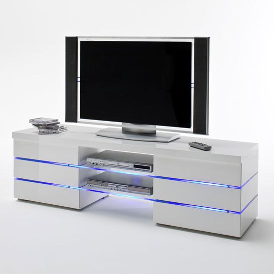 Svenja Media TV Stand in High Gloss White With Led Multi Lights