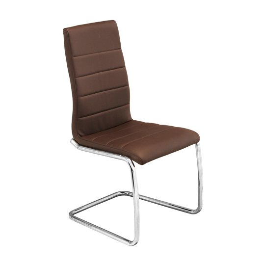 Svenska Brown PU Leather Dining Chair With Chrome Legs