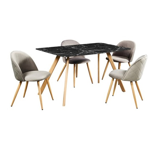Swart Dining Table In Black Marble Effect With Grey Chairs