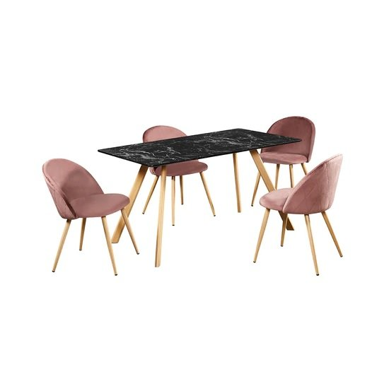 Swart Dining Table In Black Marble Effect With Pink Chairs